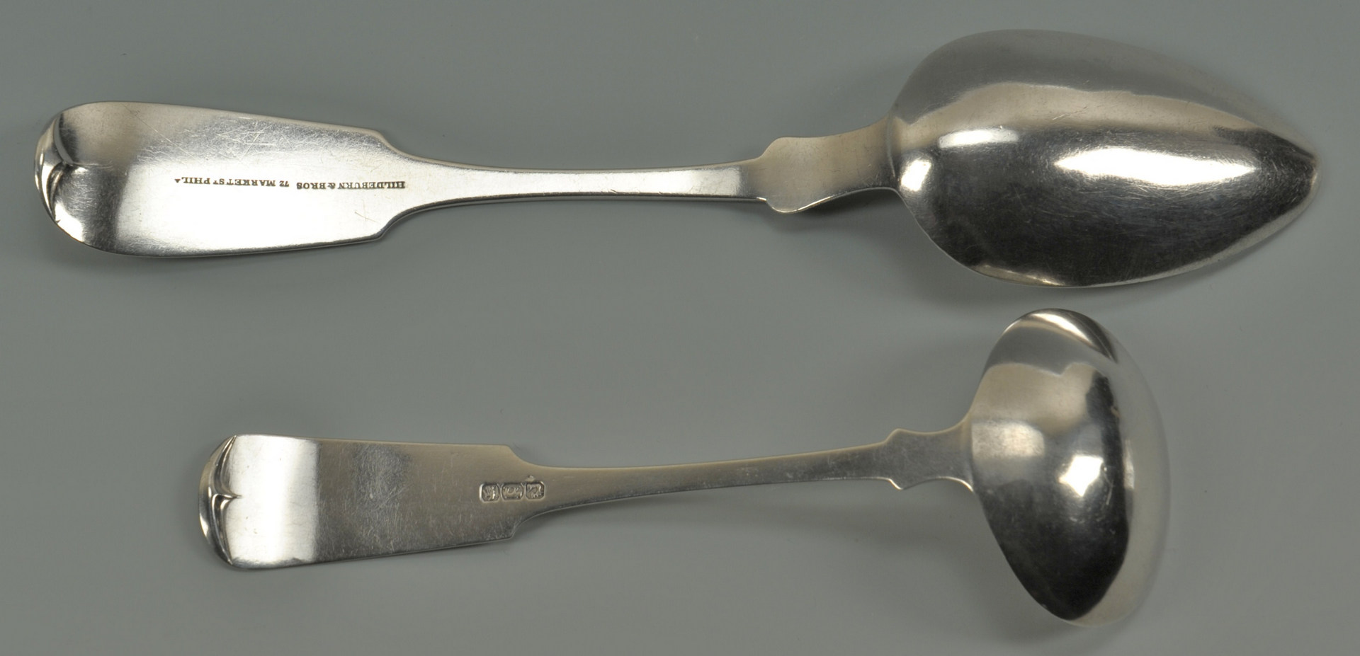 Lot 222: Ten pieces assorted coin silver flatware: SC, NY