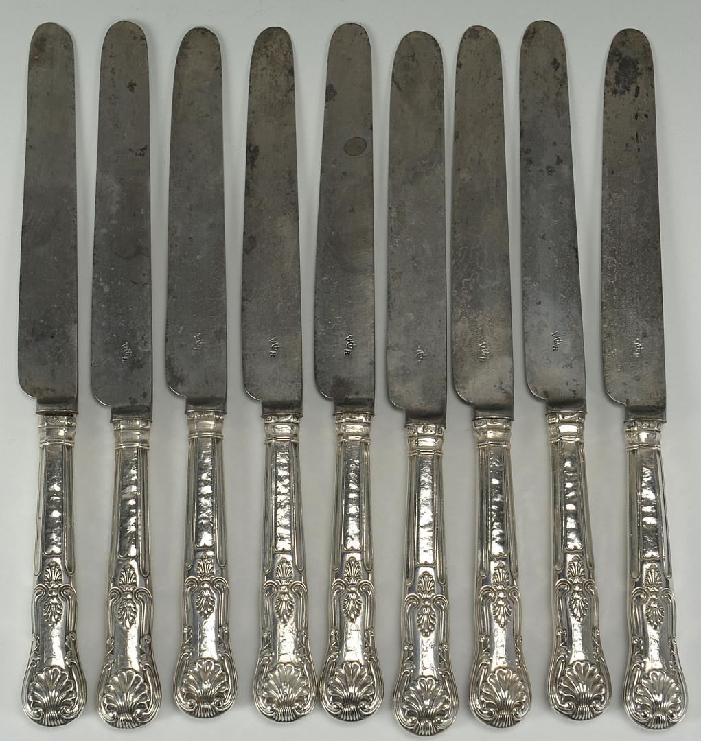 Lot 224: Nine Sheffield Sterling Silver Knives, King's Patt