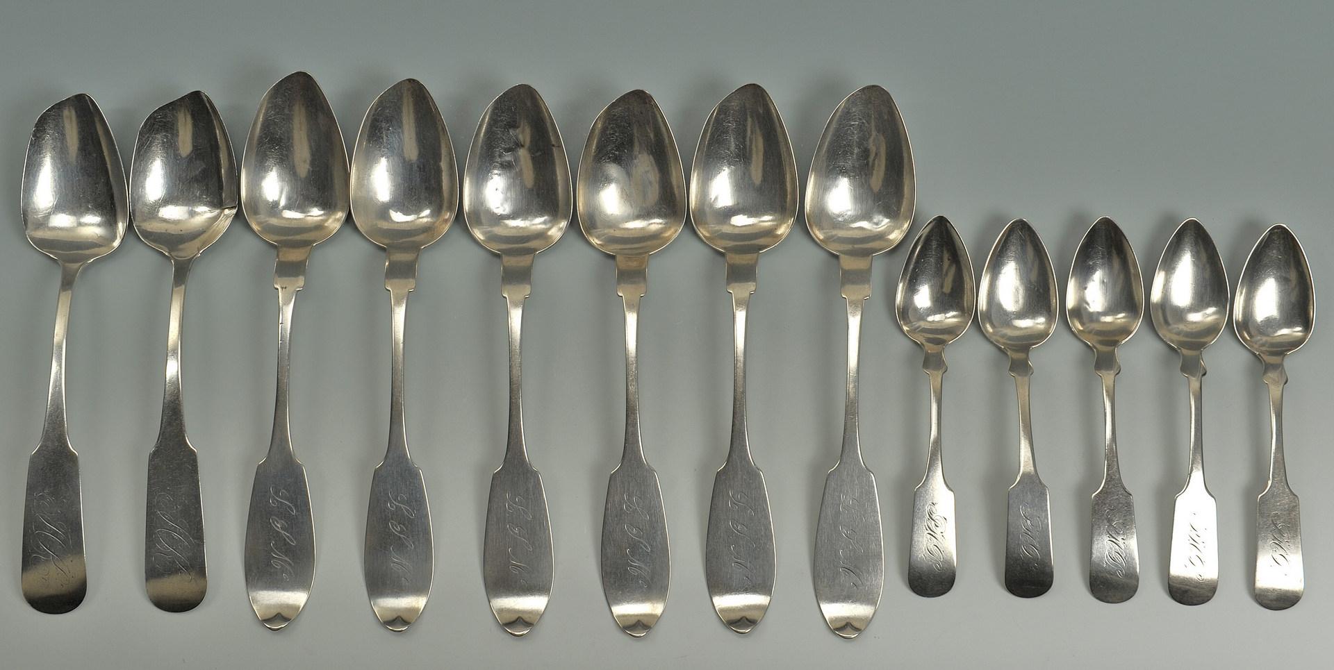Lot 227: 8 Coin silver tablespoons, 5 teaspoons, NY & NJ