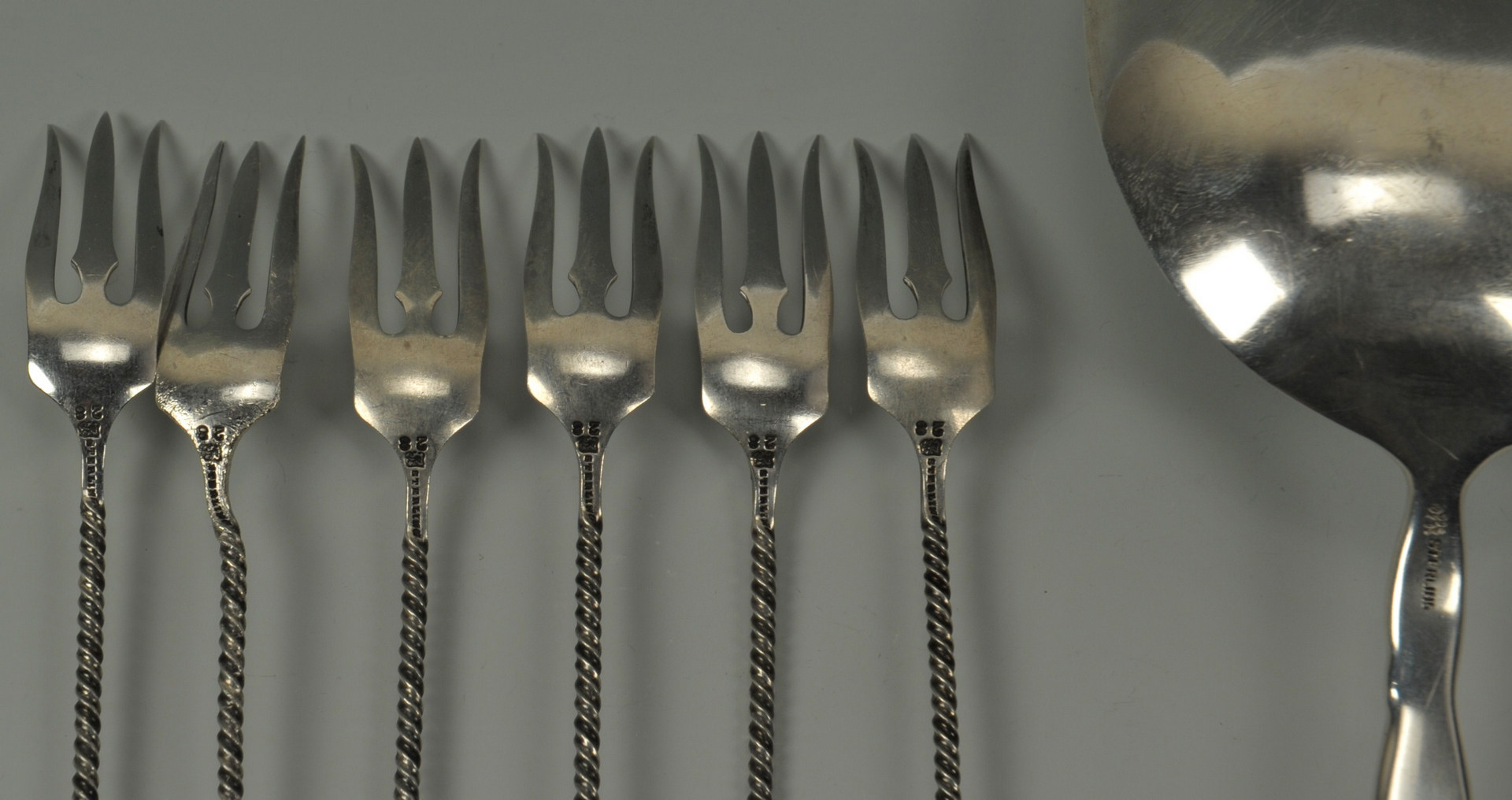 Lot 235: Silver flatware inc. 6 twist forks and Steif ladle