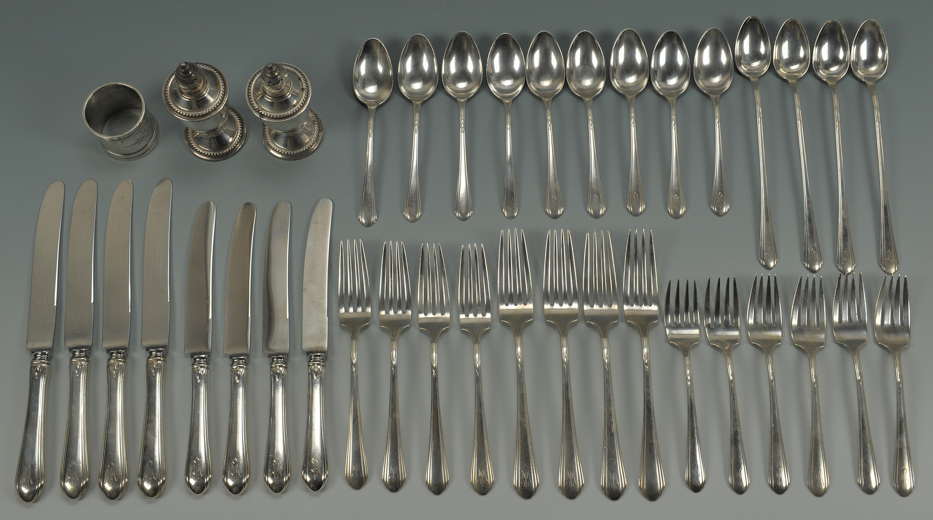 Lot 237: Towle Lady Diana flatware and other sterling