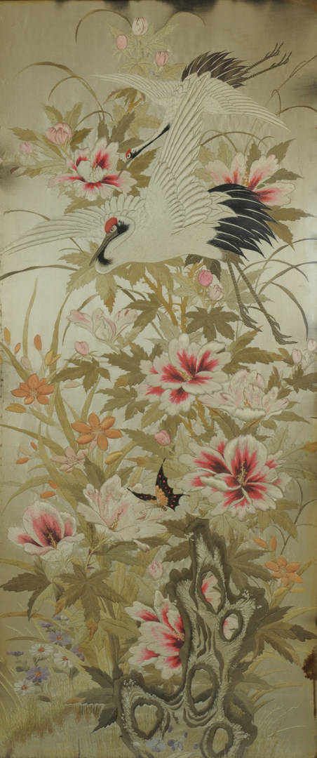 Lot 23: Pair of large Chinese Silk embroidery panels