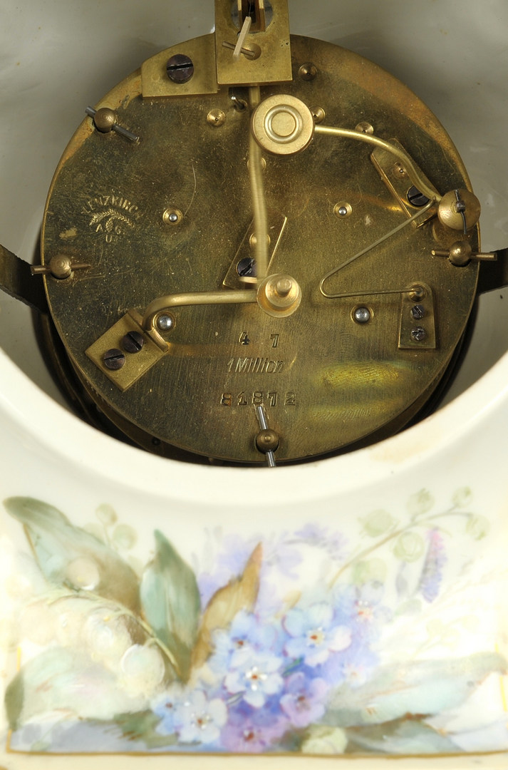 Lot 246: Porcelain KPM clock with stand, mid-19th c.
