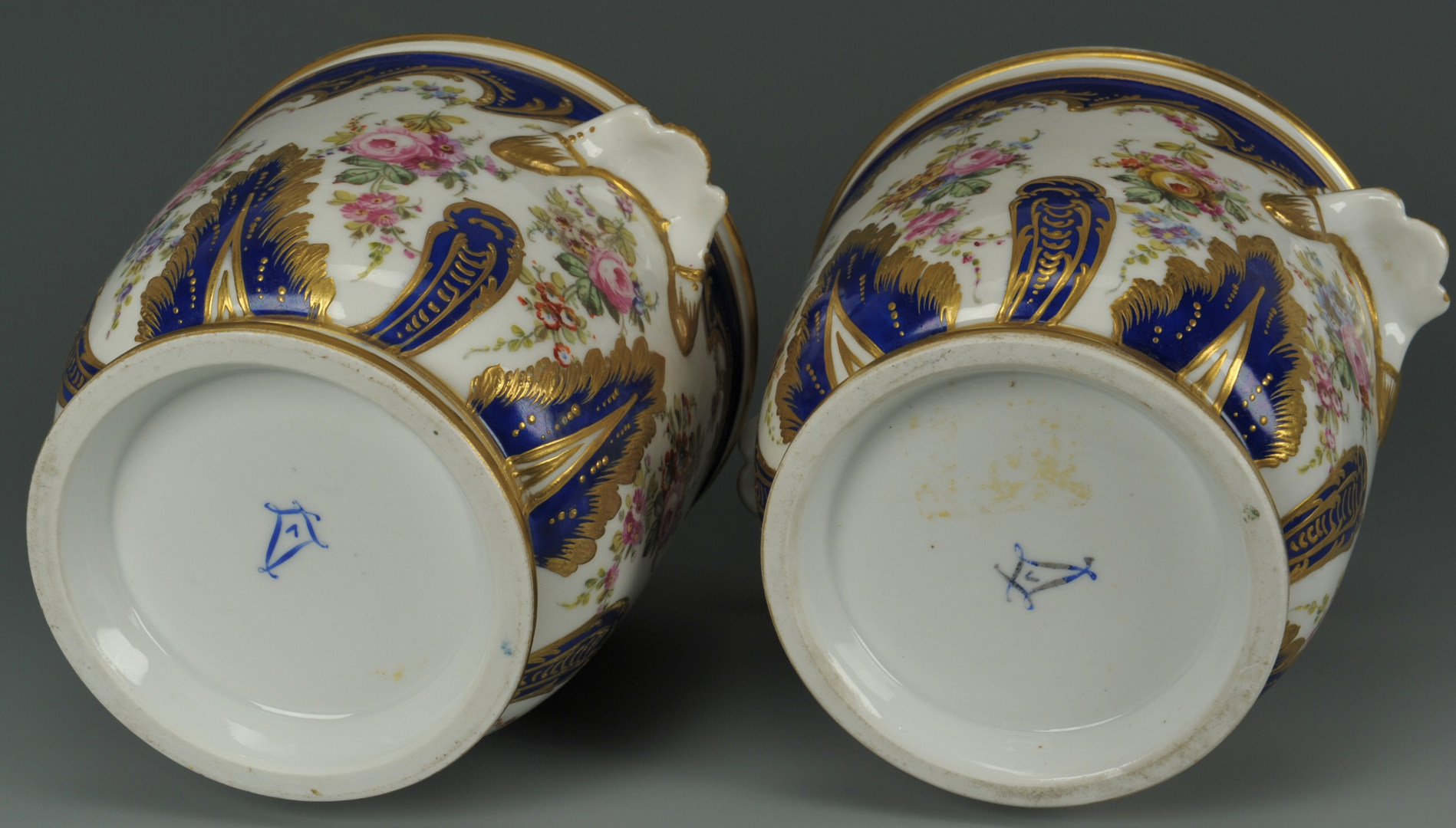 Lot 248: Pair of Sevres style porcelain jardinieres