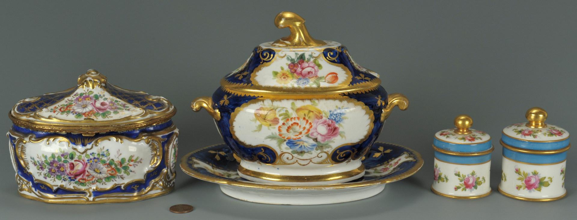 Lot 249: Four pieces Sevres style porcelain