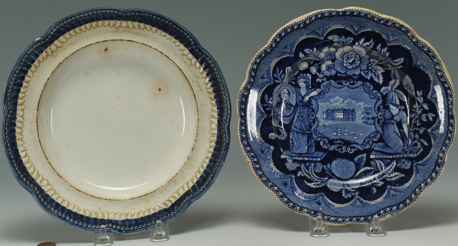 Lot 251: 2 Historical Staffordshire Plates, Clews & Cobridg