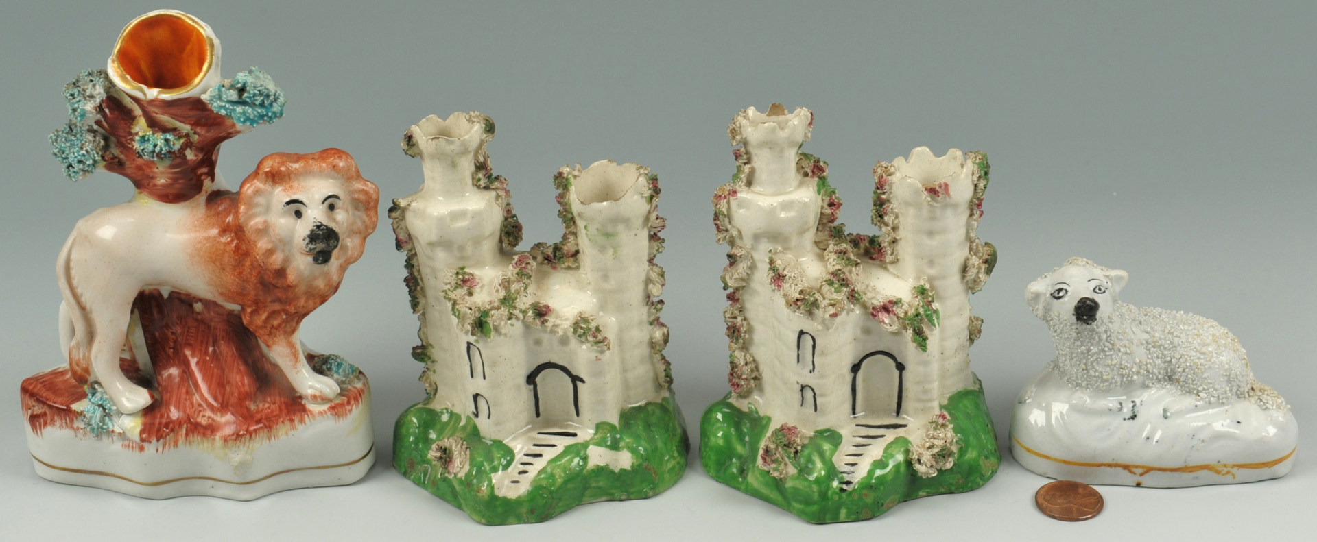 Lot 253: 4 pieces of 19th Century Staffordshire Pottery