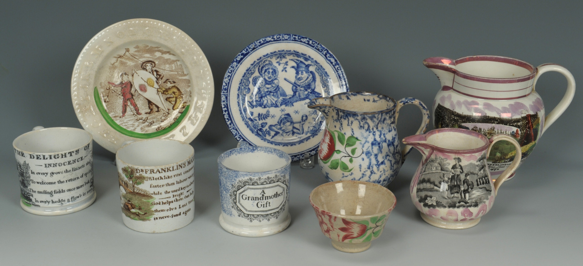 Lot 254: 19th c. ceramics, Sunderland & Spatterware
