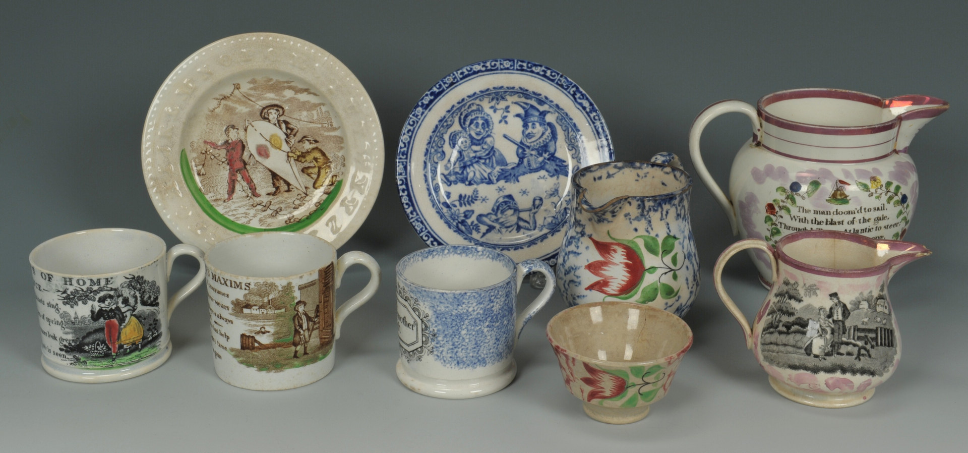 Lot 254: 19th c. ceramics, Sunderland & Spatterware