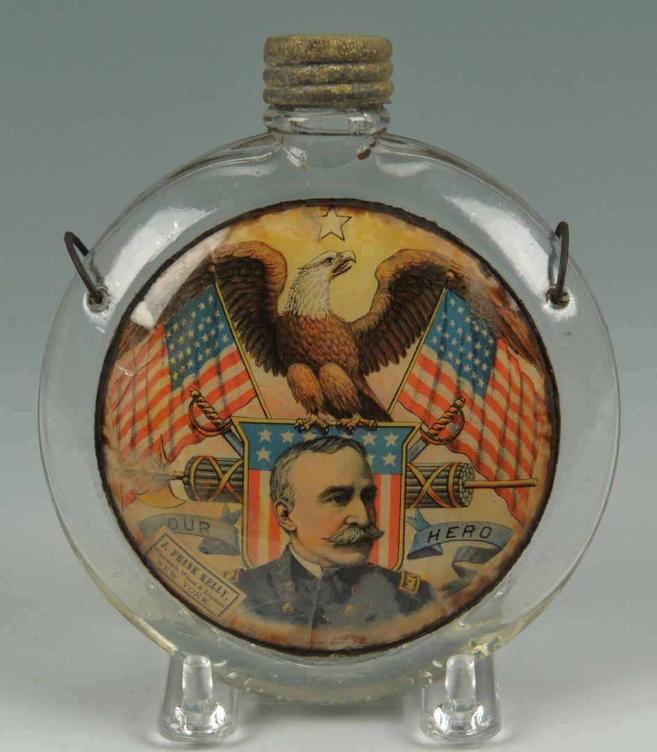 Lot 255: 2 American Flasks, Adm. Dewey, Life Preserver
