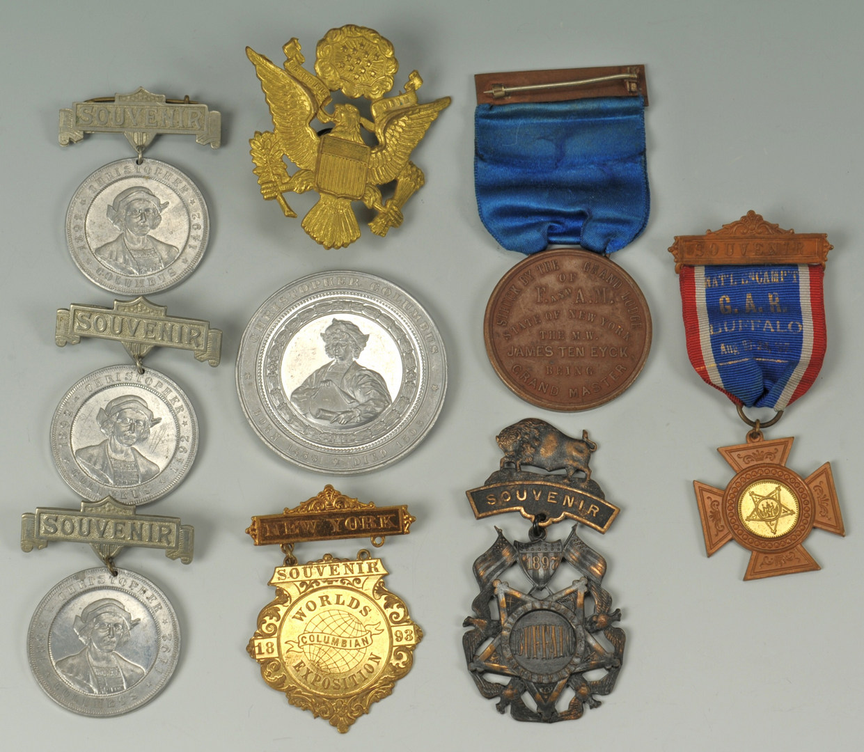 Lot 258: Group of medals, badges and ribbons- NY, political