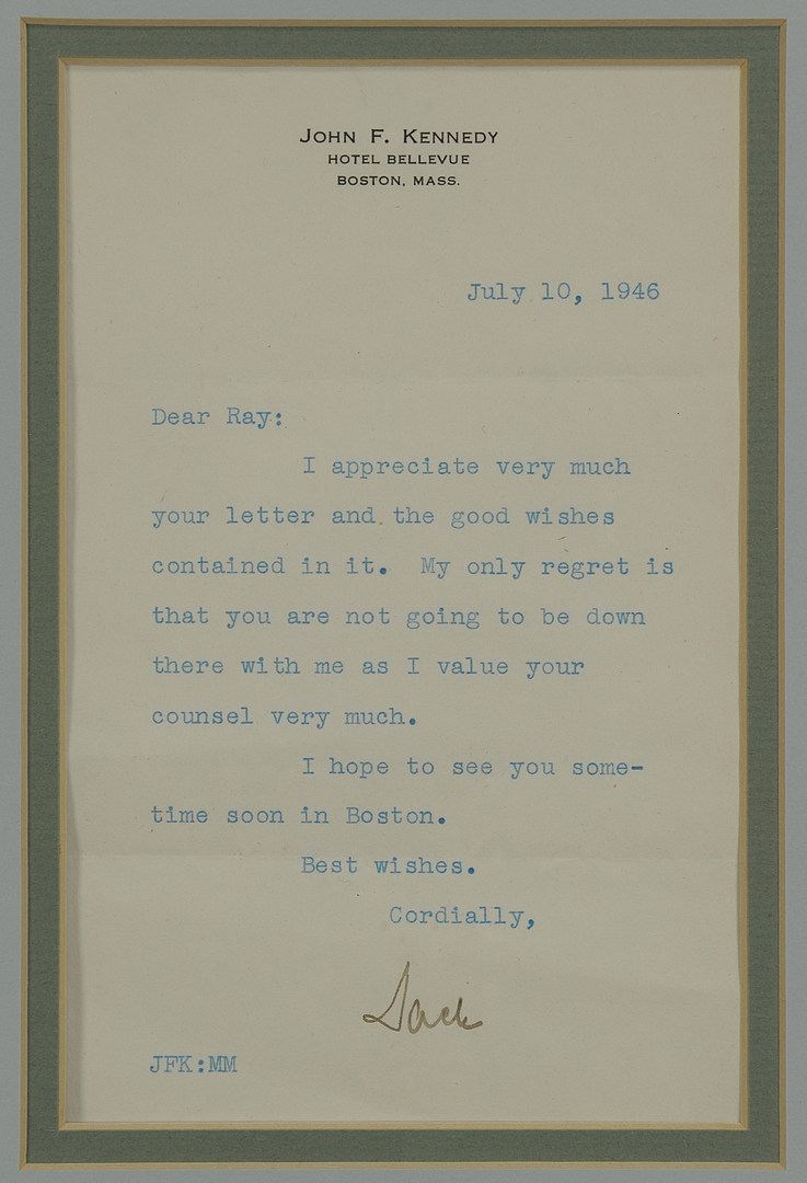 Lot 262: Signed John F. Kennedy Letter