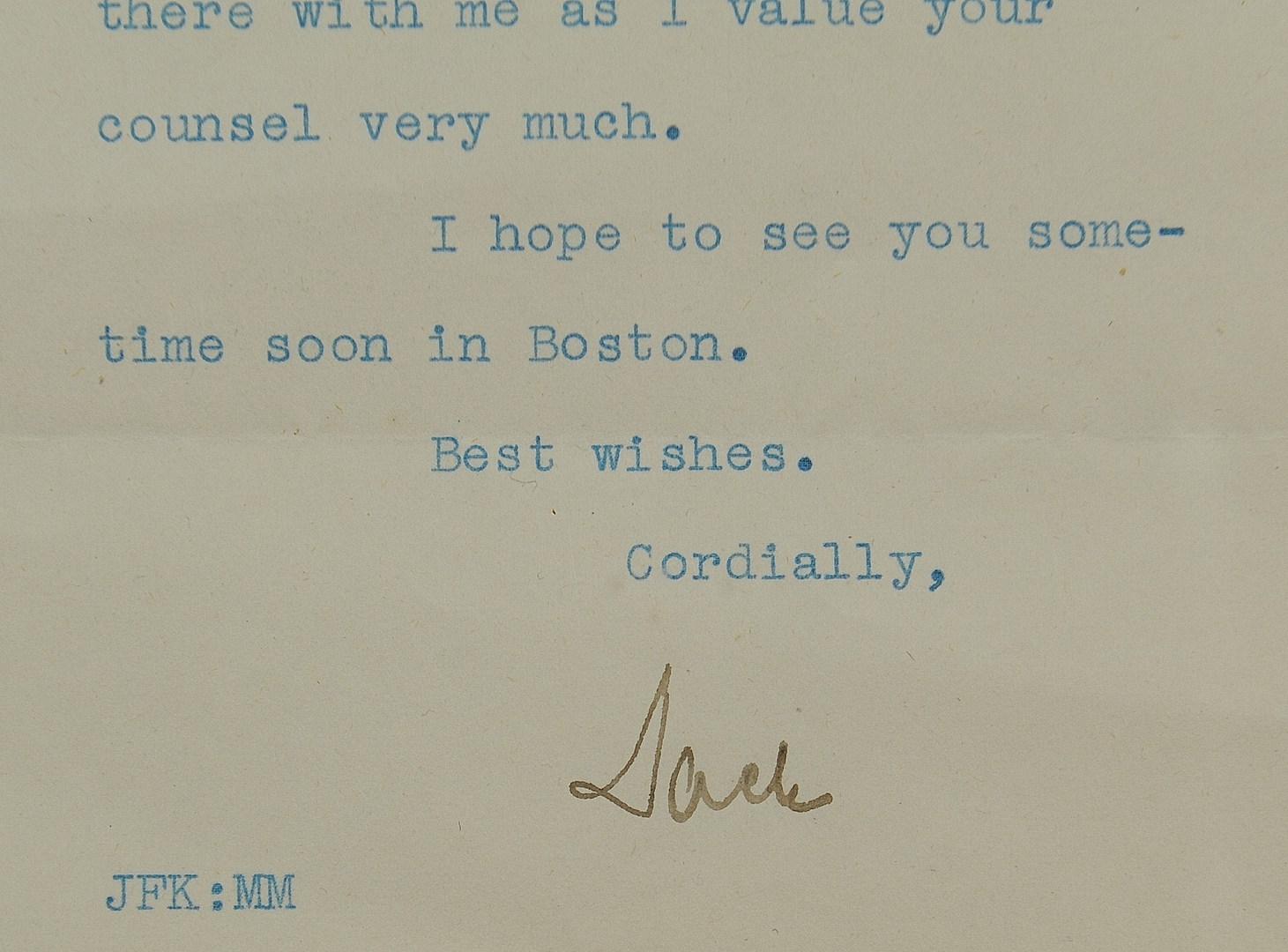 Lot 262: Signed John F. Kennedy Letter