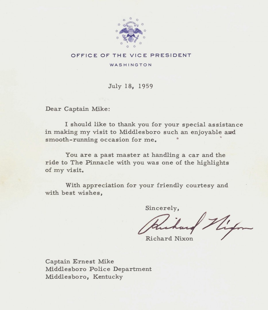 Lot 263: Nixon Signed Letter & Cumberland Gap Park Archive