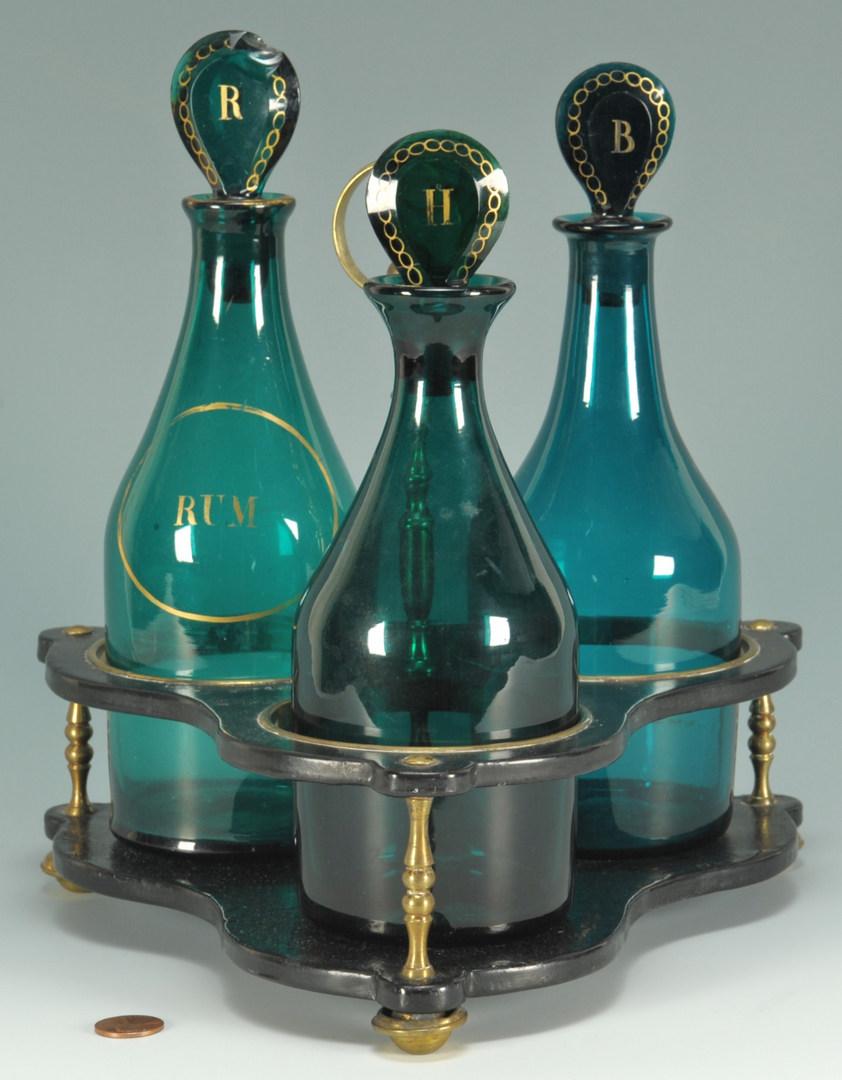 Lot 267: Liquor decanter stand w/Bristol green glass bottle