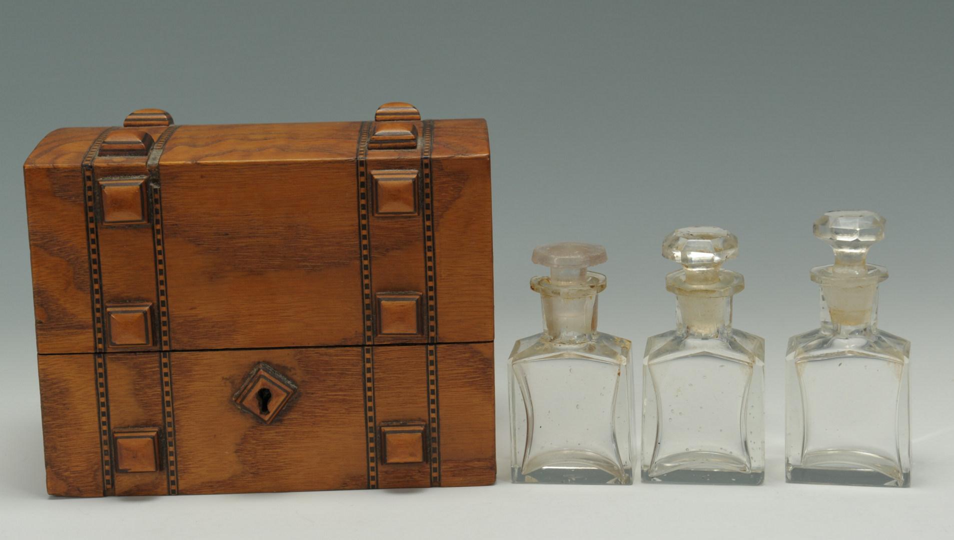 Lot 268: 3 Table Items: perfume & cruet set, toothpick hold