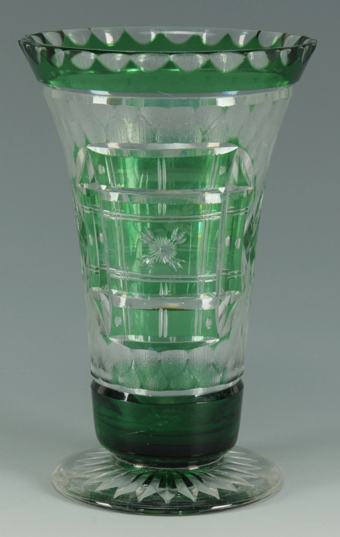 Lot 271: Green cut to clear glass vase, signed Webb
