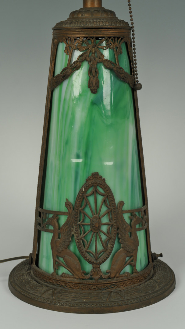 Lot 274 Table Lamp With Slag Glass Shade And Base