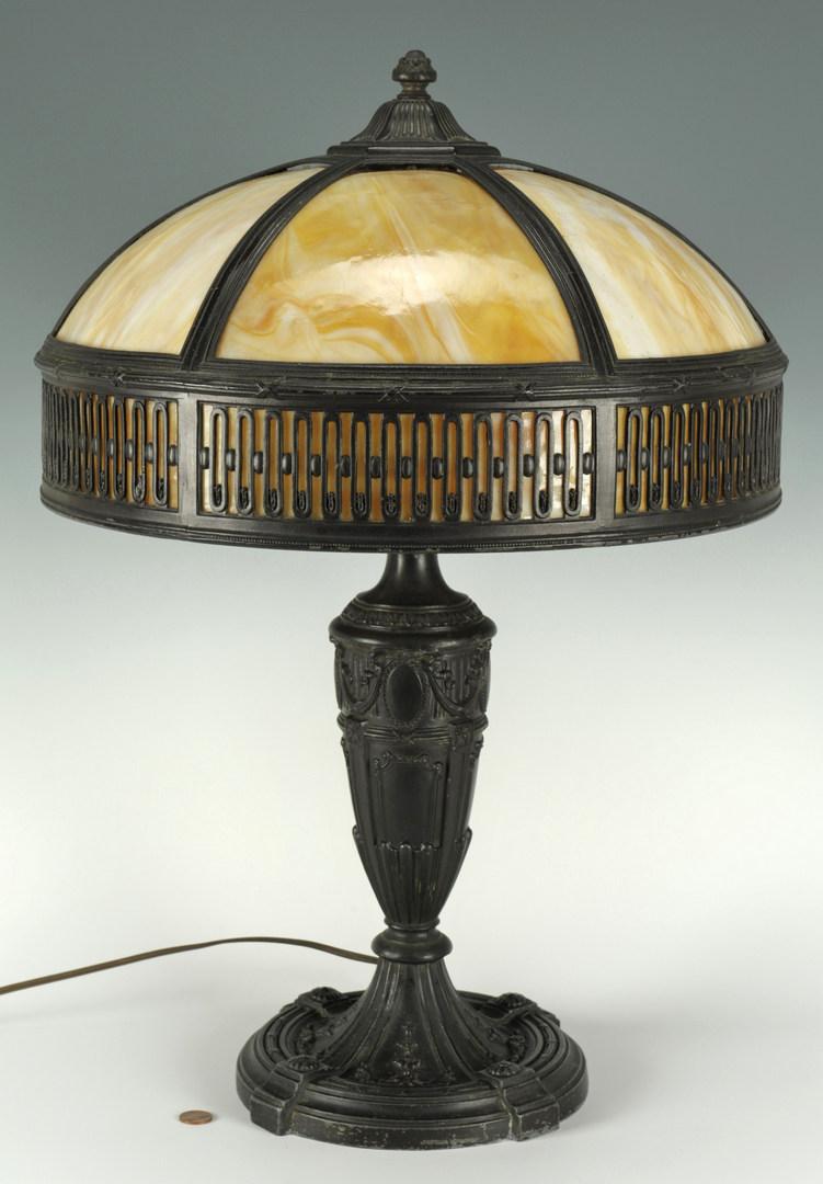 Lot 275: Tan Slag Glass Table Lamp