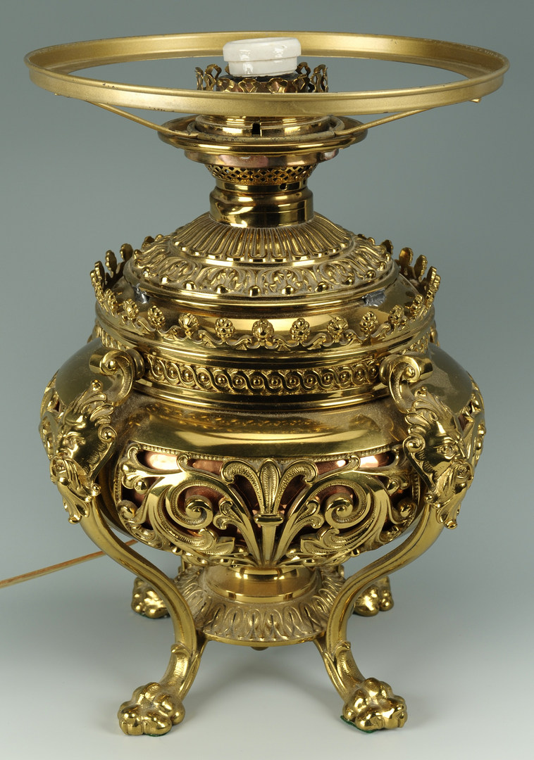 Lot 277: Victorian Brass over Copper Table Lamp