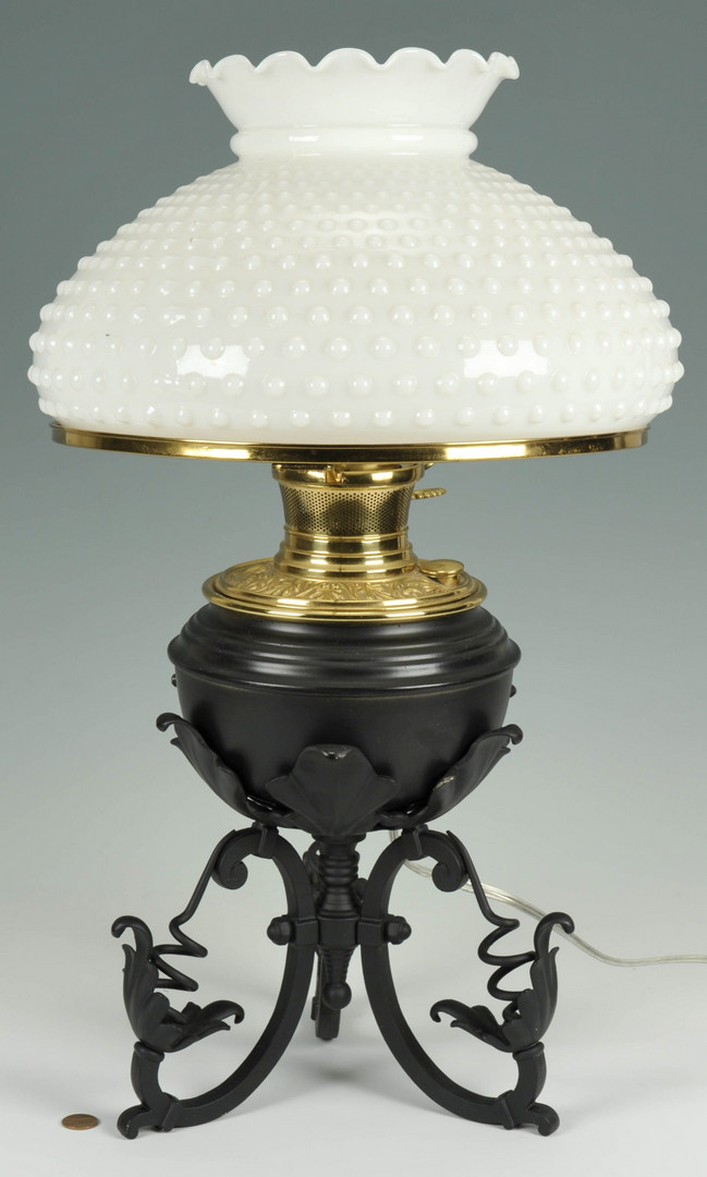 Lot 278: Bradley and Hubbard Iron & Brass Table Lamp