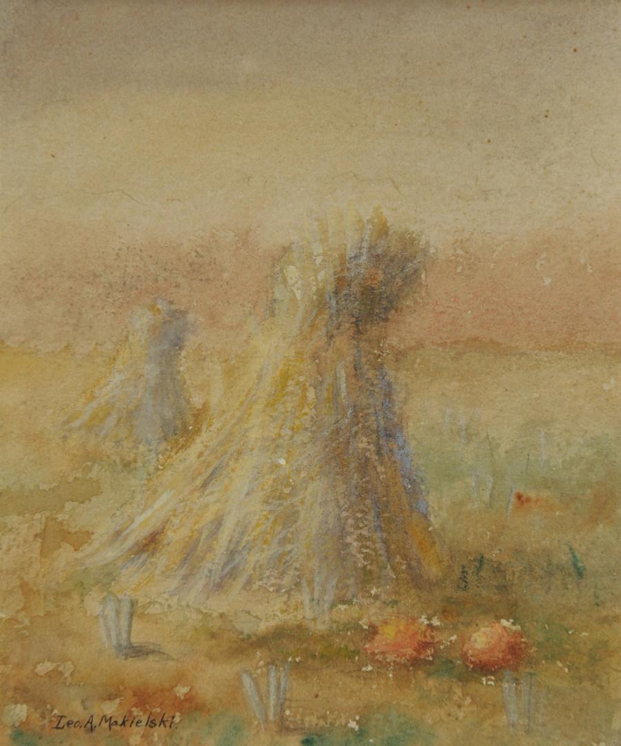 Lot 27: Leon A. Makielski, Haystacks with Pumpkins