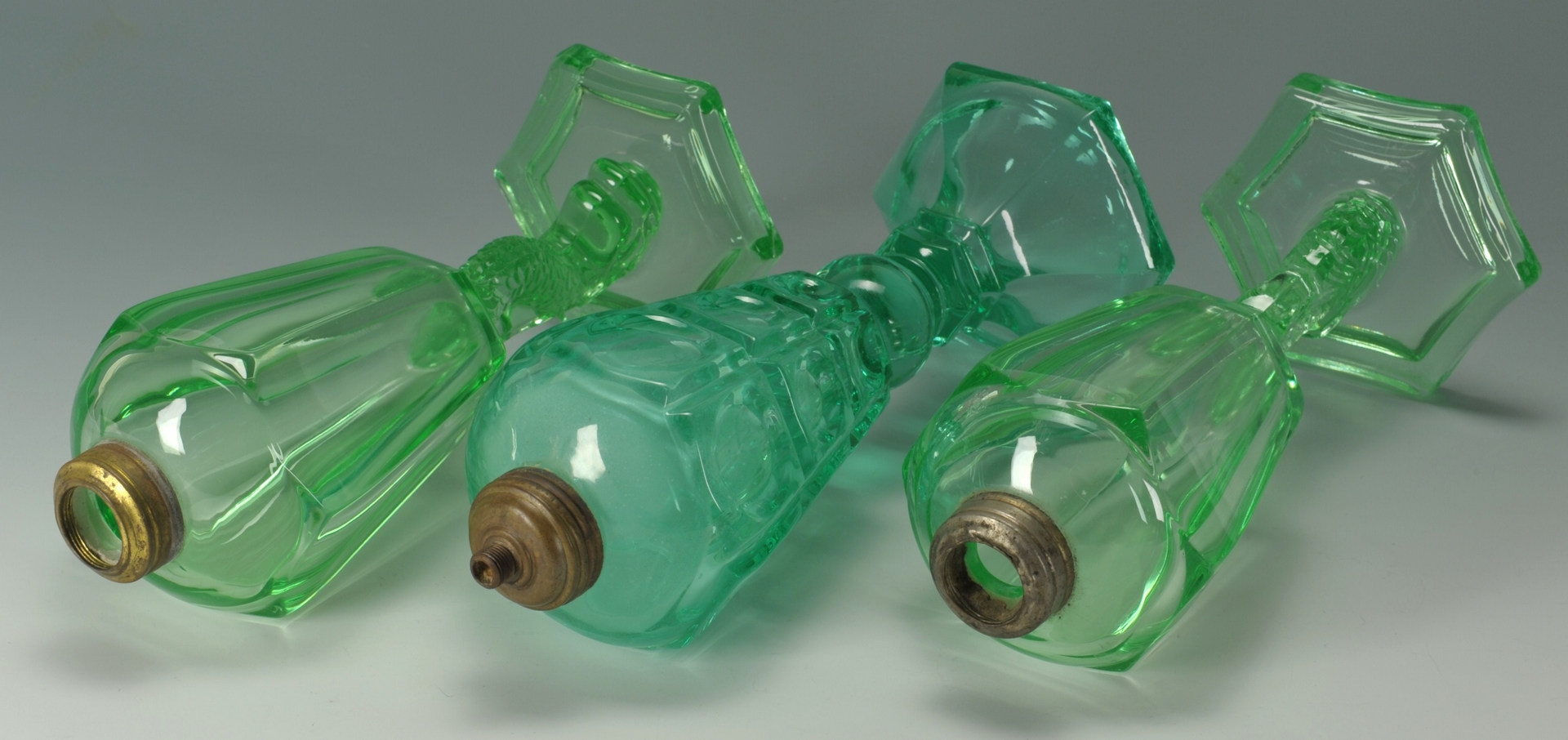 Lot 280: 3 Green Pressed Glass Oil Lamps