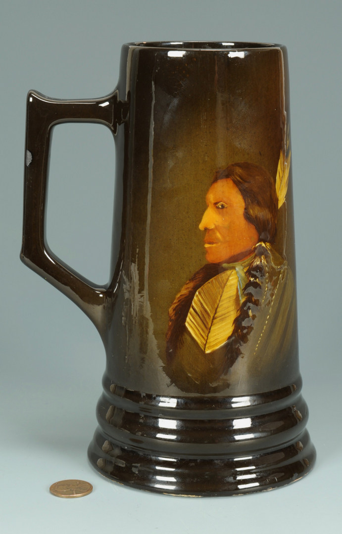 Lot 286: Native American Portrait Art Pottery Mug