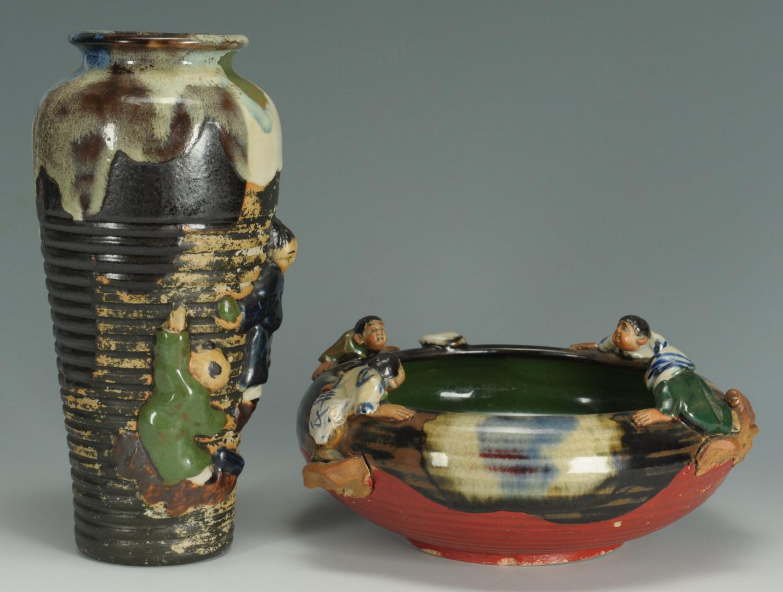 Lot 287: Two pieces Asian Sumida Gawa pottery