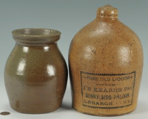 Lot 292: 2 Southern Pottery Items, TN jar, KY whiskey jug