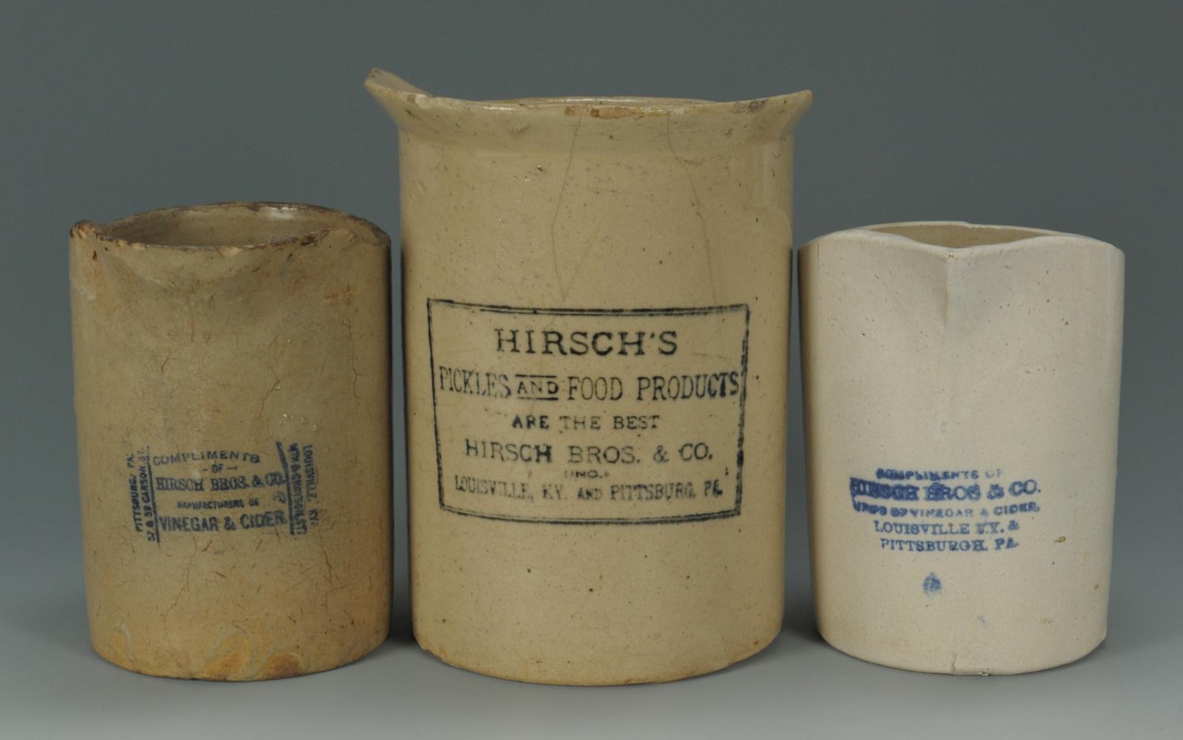 Lot 295: Three Large Kentucky Hirsch Vinegar Pitchers