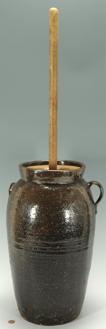 Lot 302: NC Alkaline Glazed Pottery churn w/ insert