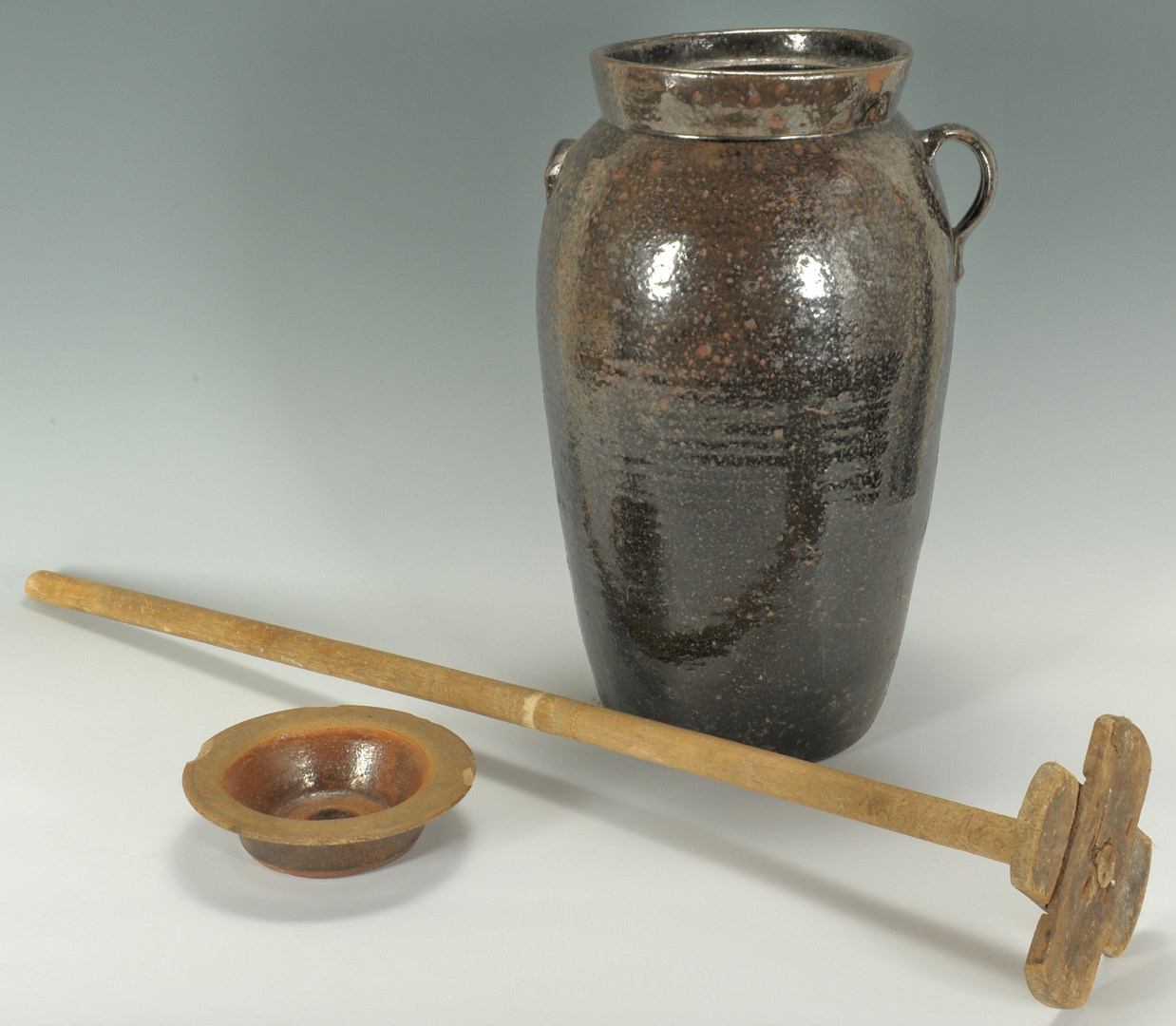 Lot 302: NC Alkaline Glazed Pottery churn w/ insert