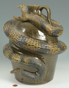 Lot 305: Michael & Melvin Crocker Rattlesnake Jug