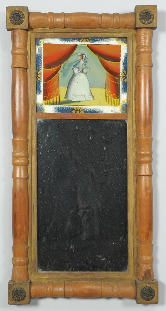 Lot 311: American Classical Mirror w/ Eglosime Panel