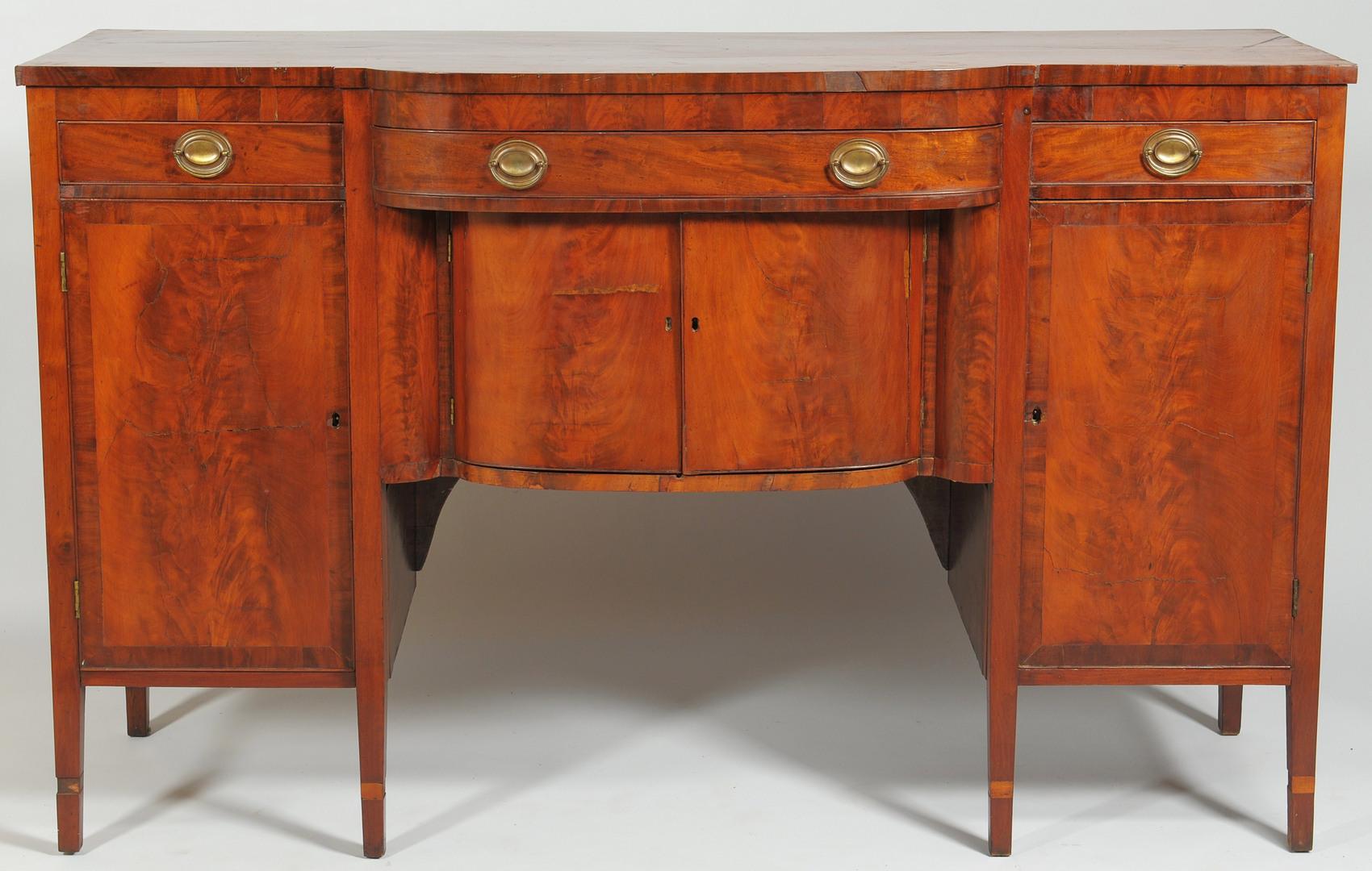 Lot 312: Federal mahogany sideboard, circa 1800