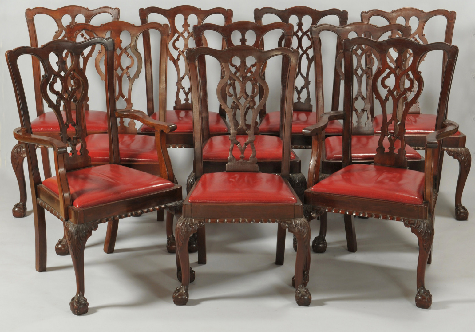 Lot 313: Ten Chippendale Style Dining Chairs
