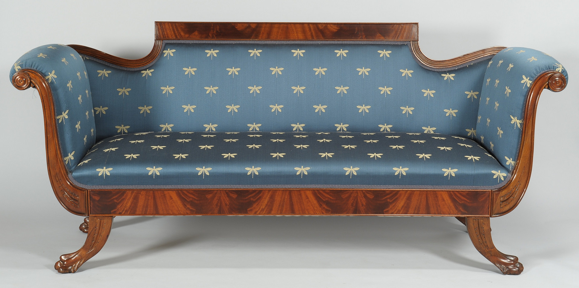Lot 315: Classical style sofa with dragonfly upholstery