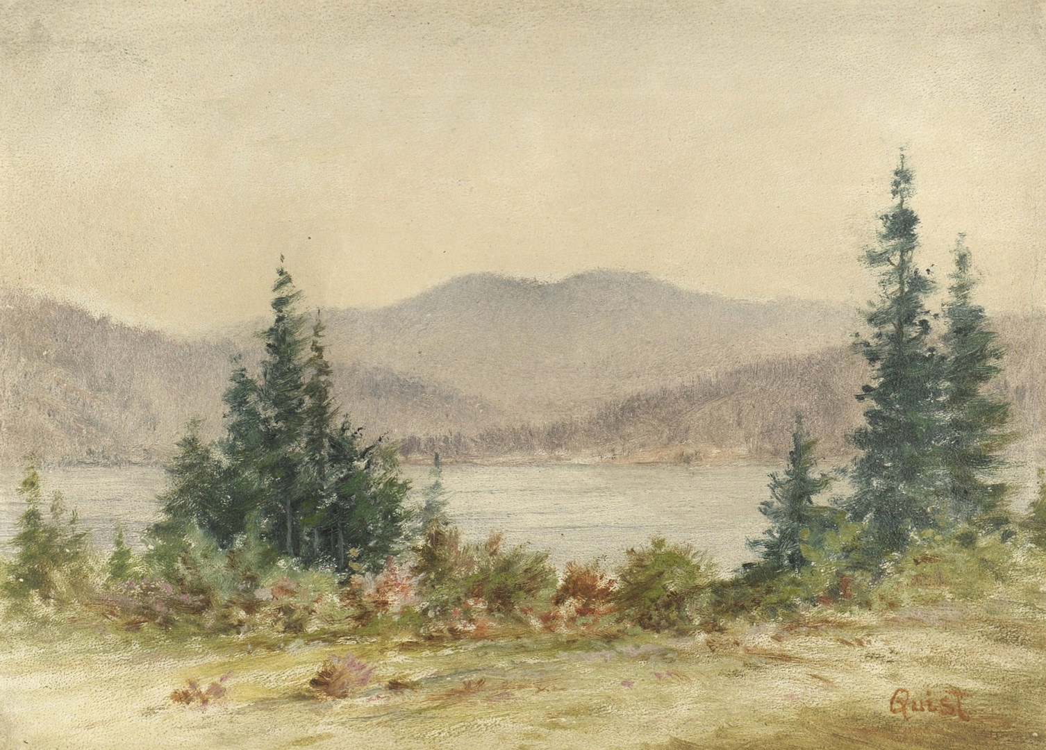 Lot 31: TN landscape signed Quist, attrib. T. Campbell