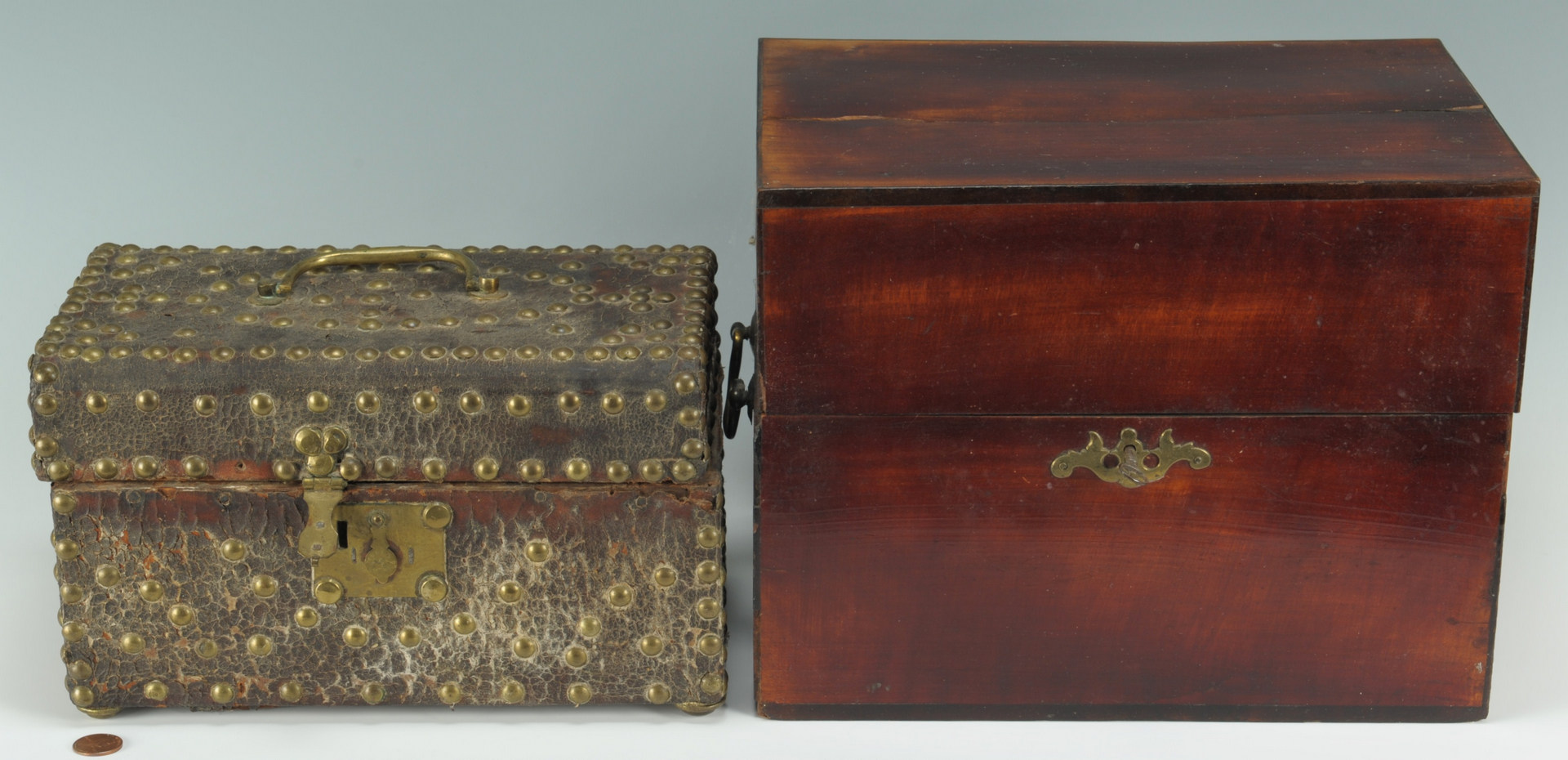 Lot 323: 2 English Boxes, Bottle & Document