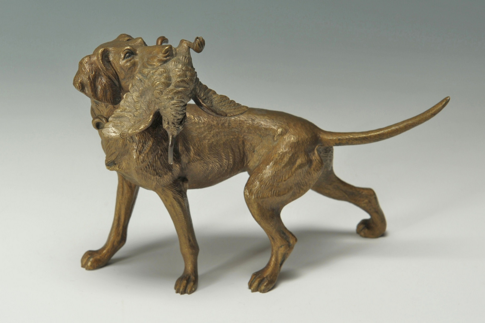 Lot 325: Two horse prints and small Austrian bronze dog