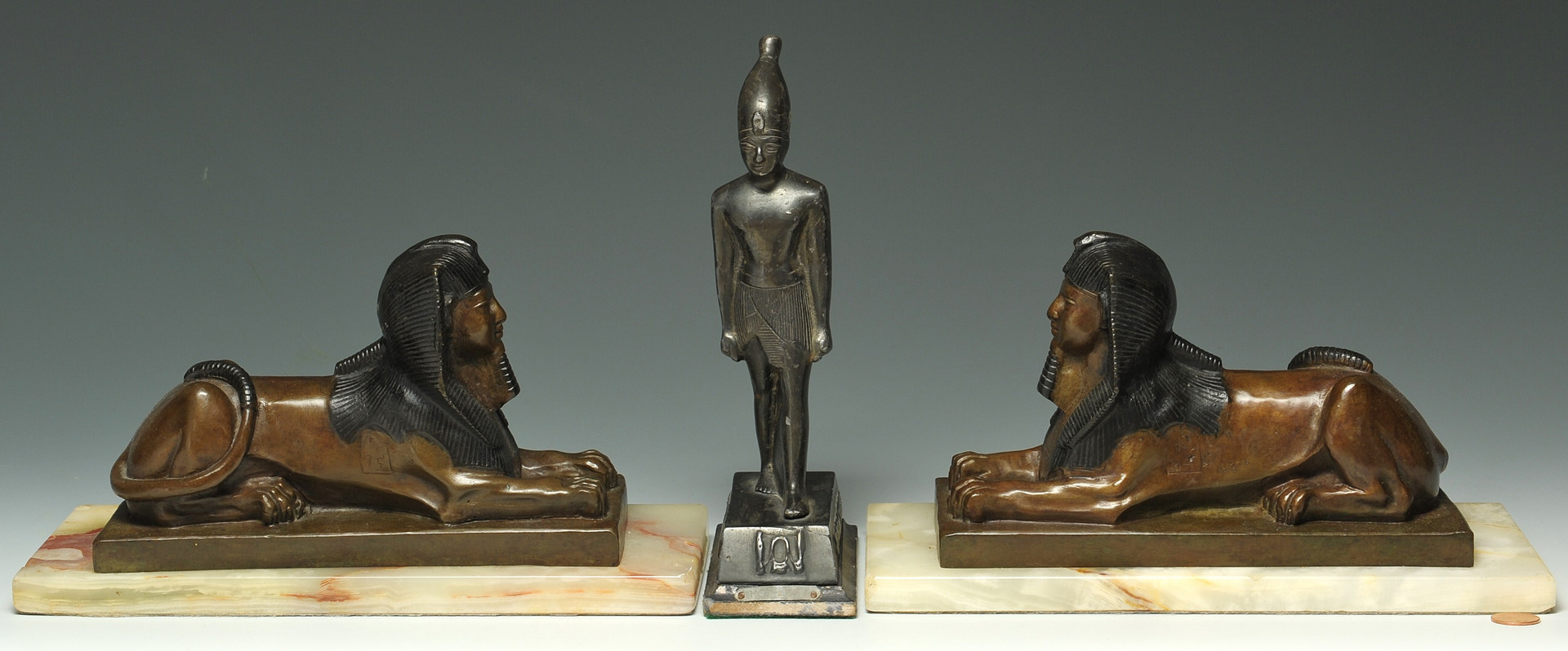 Lot 326: 3 Egyptian-themed bronze desk items