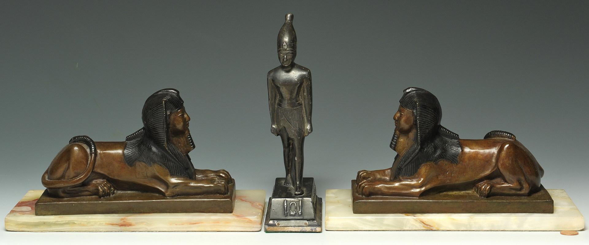 Lot 326: 3 Egyptian-themed bronze desk items