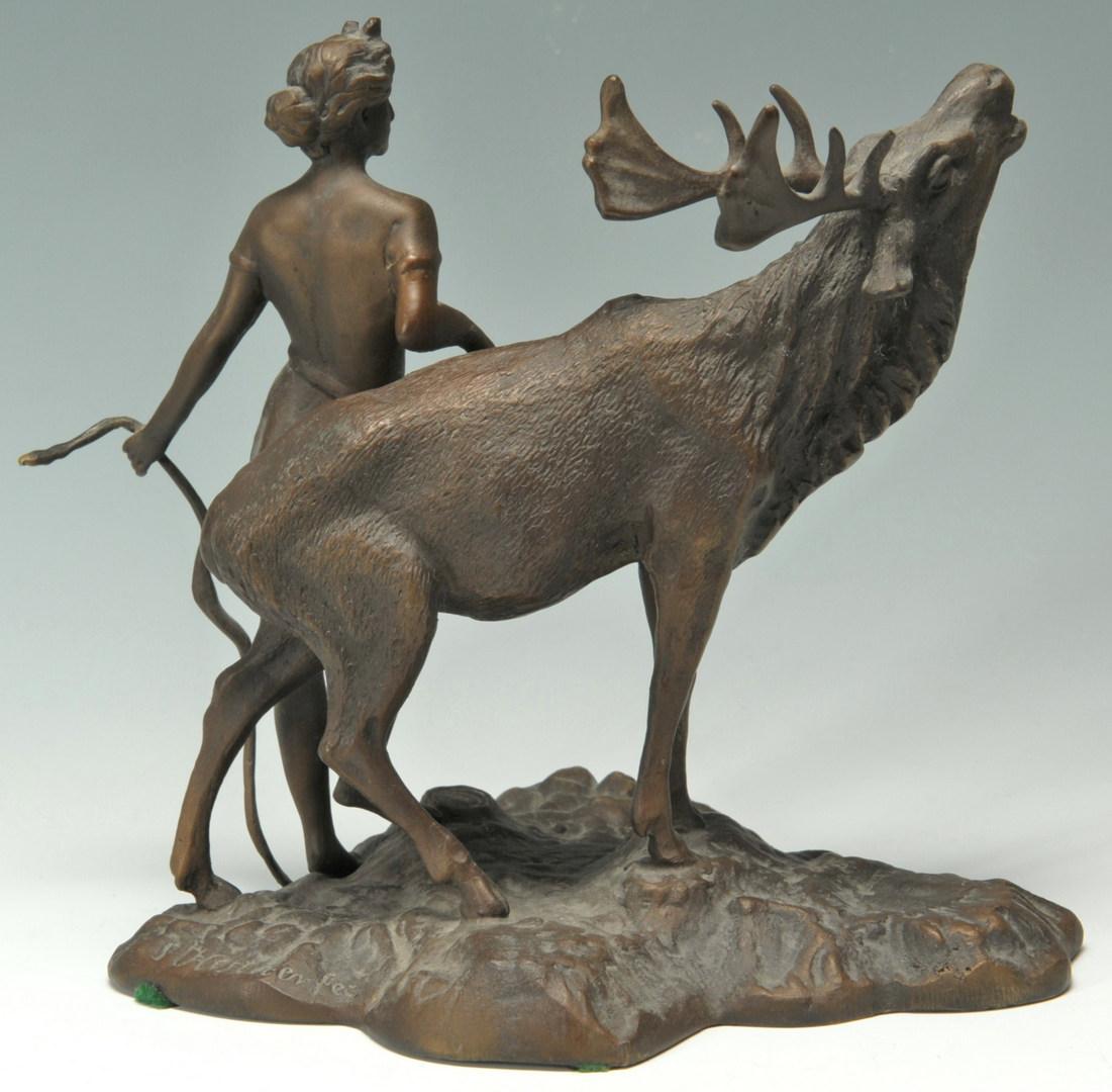 Lot 327: Bronze figural group, Artemis and Deer