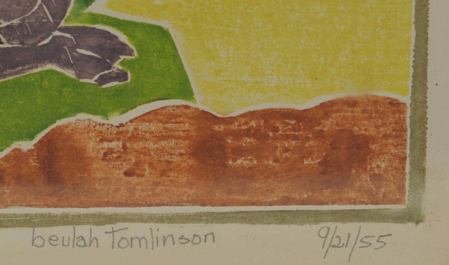 Lot 334: 2 Beulah Tomlinson Wood Cut Block Prints: Rabbit a