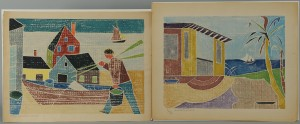 Lot 335: 2 Beulah Tomlinson Wood Cut Block Prints: Cottage