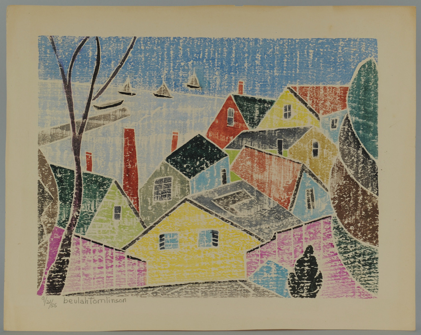 Lot 336: 2 Beulah Tomlinson Wood Cut Block Prints: Village