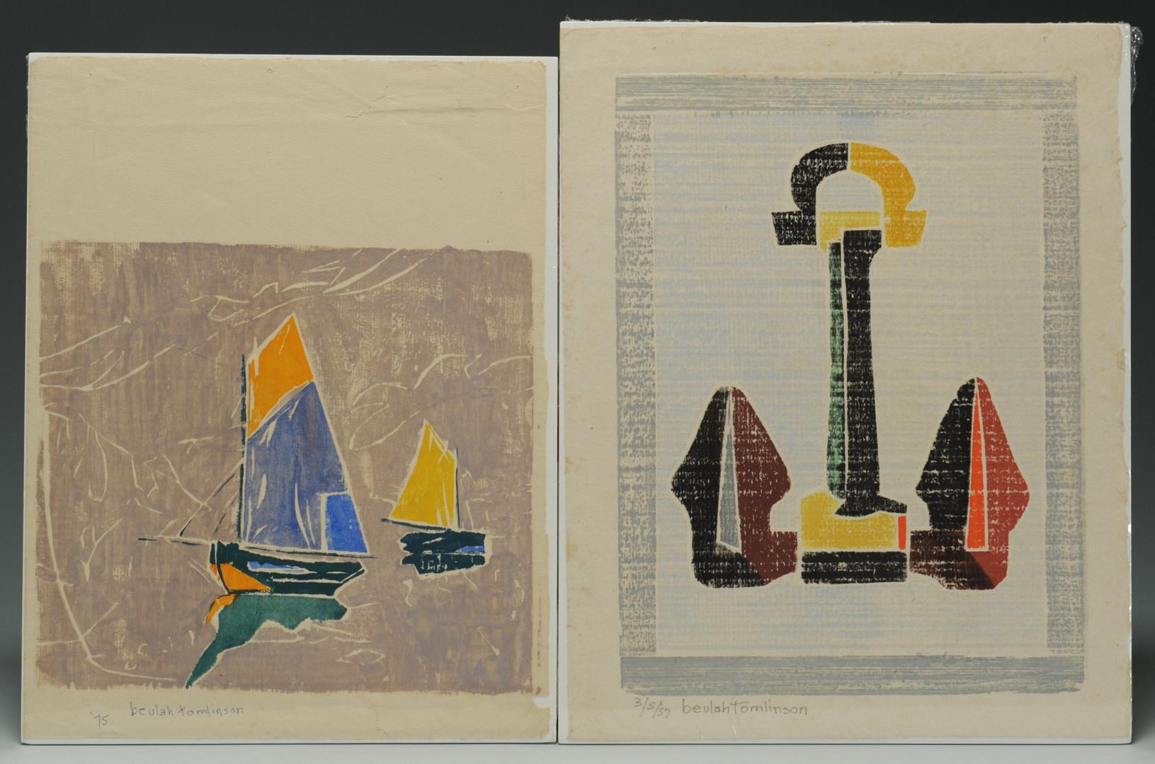 Lot 337: 2 Beulah Tomlinson Wood Cut Block Prints: Boats an