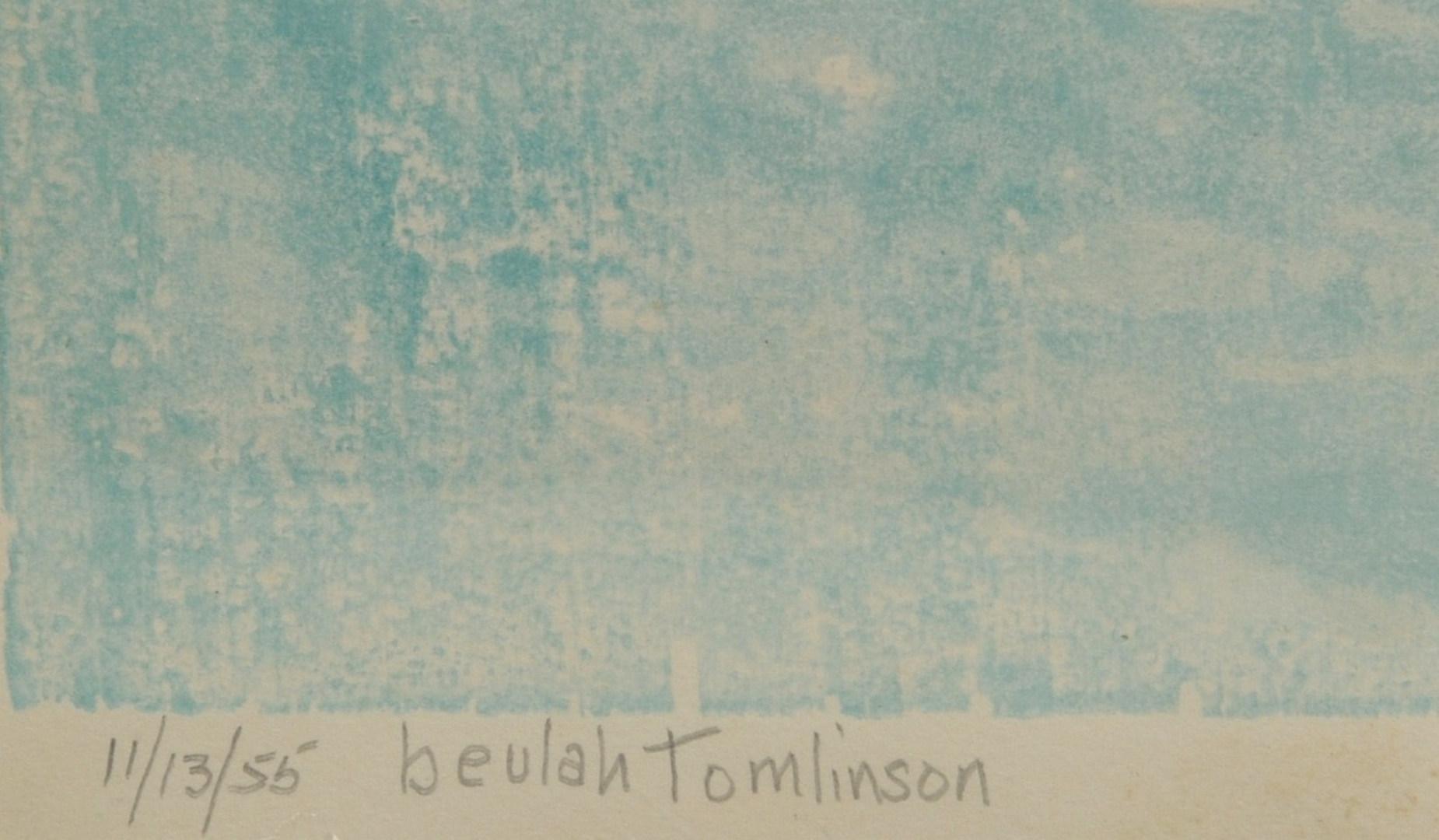 Lot 338: 2 Beulah Tomlinson Wood Cut Block Prints: Sailboat
