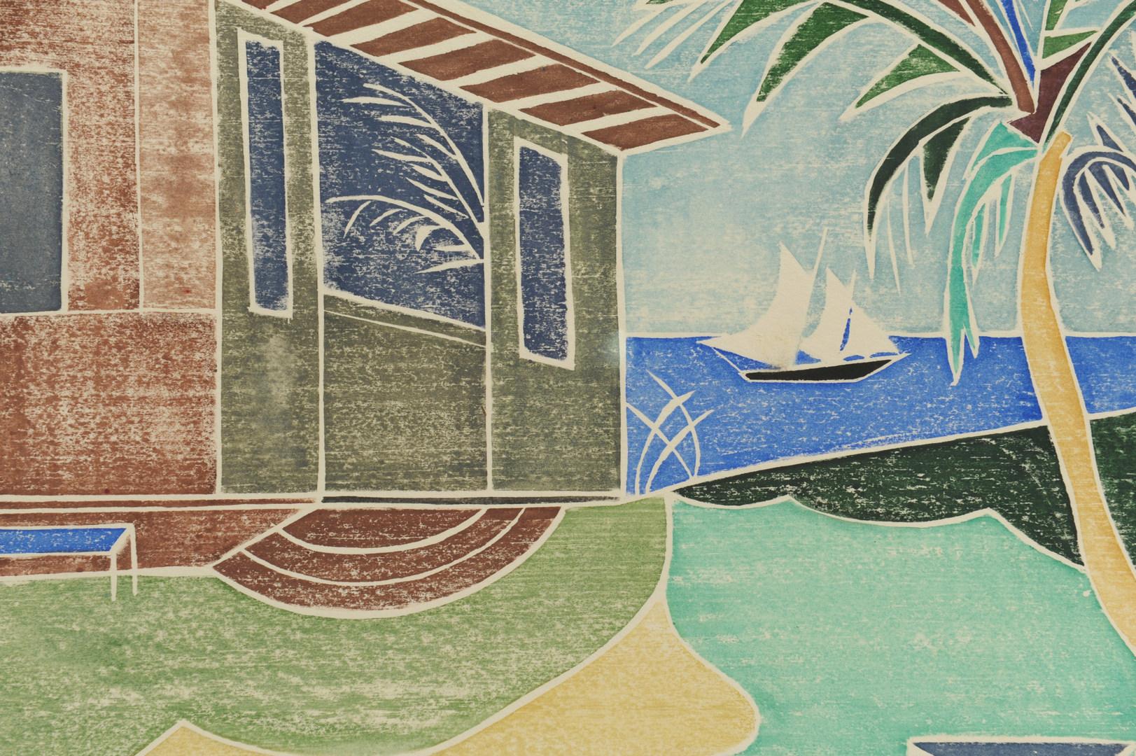 Lot 339: 2 Beulah Tomlinson Wood Cut Block Prints: Sea Hous